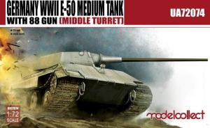 German WWII E-50 Medium Tank with 88 Gun (Middle Turret)